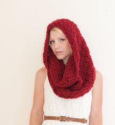 Red Riding Hood Chunky Cowl Hood Neckwarmer  Dark by CThandmade, $36.00