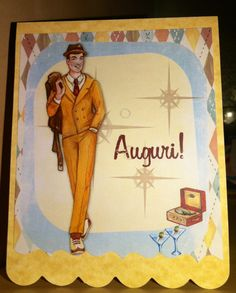 The 50's - a card made with a CraftArtist 2 digikit, then die-cut with Sizzix- this is for a man