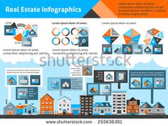 Real estate infographics set with commercial property apartment symbols and charts vector illustration