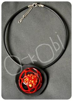 Polymer clay necklace  Volcano flower