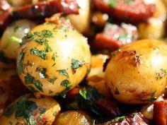 Chorizo-Crisped Potatoes With Pearl Onions And Whole Garlic