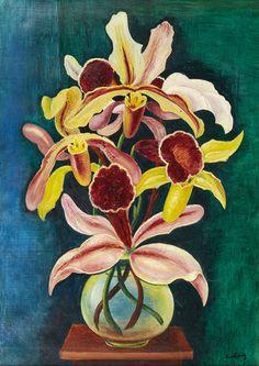 Moise Kisling (1891-1953) Vase of orchids, N/D