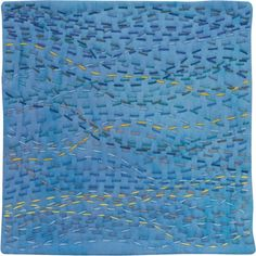 Stillness: Sea #8  ©2011 Lisa Call  6 x 6″  Textile Painting (fabric hand dyed by the artist, cotton batting, embroidery floss)  mounted on stretched canvas (finishing to 8x8″)