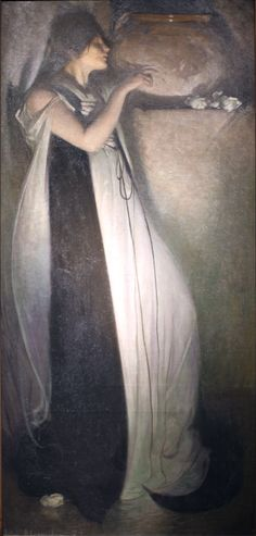 """Isabella and the Pot of Basil"""", oil on canvas, 1897 by John White Alexander (7 October 1856 – 31 May 1915) American portrait, figure, and decorative painter and illustrator"""