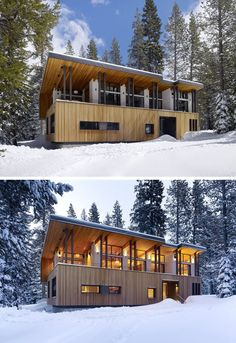 The sloped roof on this modern house opens up the front of it to provide views of the landscape and allow as much natural light in as possible. Modern Lake House, Modern House Design, Modern Houses, Mountain Home Exterior, Modern Mountain Home, Luz Natural, Natural Light, Facade Design, Roof Design
