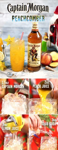 Preparing for vacation? Don't forget to bring along the spiced rum staple born and bred to party hard–Captain Morgan. To mix up a spring drink made with fresh ingredients, combine oz Captain Morgan Original Spiced Rum, oz fresh lemon juice, 2 oz pe Peach Juice, Juice 2, Fresh Lemon Juice, Fruit Juice, Peach Rum, Lemon Water, Bar Drinks, Cocktail Drinks, Alcoholic Drinks