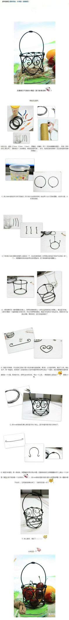 How to make a miniature wire basket for your dollhouse | Source: Daphne8080 @ Duitang