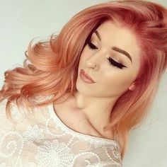 Pin by emily on makeup hair shades, strawberry blonde hair, gold hair c Cabelo Rose Gold, Gold Hair Colors, Pastel Colors, Unique Hair Color, Fun Hair Color, Coral Hair Color, Pastels, Colours, Strawberry Blonde Hair