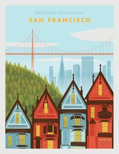 San Francisco travel art poster