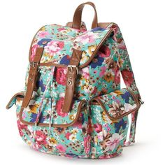 Candie's Floral Cargo Backpack, Green (34 LYD) ❤ liked on Polyvore featuring bags, backpacks, accessories, floral, green, floral print backpack, floral backpack, buckle backpacks, drawstring bag and green backpack