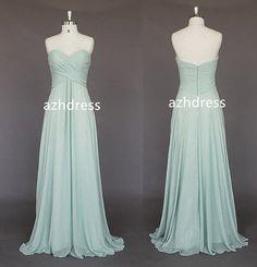 Light Blue Bridesmaid Dress Sweetheart Long Chiffon by azhdress, $99.00