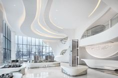 China-based designer PAL has created ultra-modern show flats with bright, clean lines and futuristic curves for UNStudio's vertical living pods in Wenzhou. Futuristic Interior, Futuristic Design, Futuristic Furniture, Futuristic Architecture, Interior Architecture, Interior Design, Lobby Interior, Wood Interiors, Office Interiors