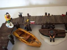 Dept-56-WOODEN-PIER-Lemax-WOODEN-DOCKS-BOATS-Excellent-in-Box-Used