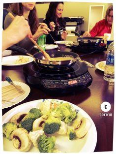fondue and friends make a great lunch time break!  #corwindesign #fondue #friday