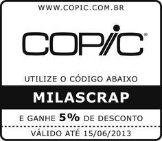 Cupom de Desconto de 5%, em todas formas de pagamento e para qualquer produto da Loja da Copic Brasil.
