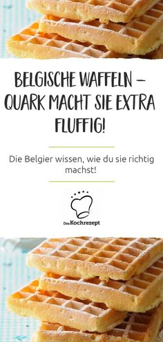 Belgische Waffeln mit Quark What's even better than Belgian waffles? Belgian waffles with curd cheese! The curd cheese makes the waffles wonderfully fluffy - and another ingredient has done us good: there is orange zest in the batter. Vegetarian Breakfast, Vegan Breakfast Recipes, Healthy Recipes, Belgian Waffles, How To Make Cheese, Good Food, Brunch, Food And Drink, Snacks