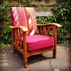 It's an upcycled chair with a pillow made of neck ties
