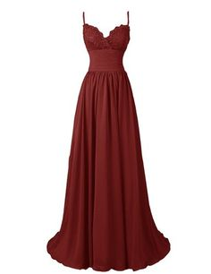 Amazon.com: R&J Women's A-Line Floor Length Straps Sweetheart Long Lace Chiffon Prom Dress: Clothing