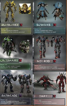 Transformers: the last knight characters Los Autobots, Transformers Decepticons, Transformers Characters, Transformers Bumblebee, Transformers Movie, Transformer Tattoo, Transformer Party, Iron Man Wallpaper, Transformers Collection