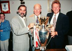 George Best celebrates @manutd's first league title in 26 years with Sir Bobby Charlton and Denis Law back in 1993.