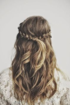 Easy and fast pulled back pretty braids.