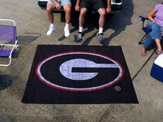 Georgia UGA Bulldogs Black 5X6ft Indoor/Outdoor Tailgate Area Rug/Mat/Carpet