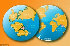 In this artist's rendering, the left image shows what Earth looked like more than 140 million years ago, when India was part of an immense supercontinent called Gondwana. The right image shows Earth today.