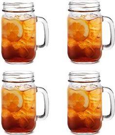 Set Of 4 Kilner Glass Handled Drinks 0.4 Litre Tumblers Preserving Cocktail Beer Jars Mugs Jar: Amazon.co.uk: Kitchen & Home