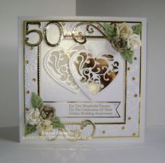 Congratulations 50th Golden Anniversary Cards using the Hearts and Squares design again in two different colour ways, first one - Using Dies from Spellbinders - Grand Squares, Vines of Passion, Bitty Blossoms , Tonic Studios - Scalloped Squares, Memory Box - Numbers, DieNamics - FishTail Banners and Crafts Too - Flourish. Embossing folder used is Crafters Companion - A4 Rose Swirls.
