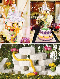 tangled in fun pink and purple with golden sun Rapunzel birthday party princess tower cake