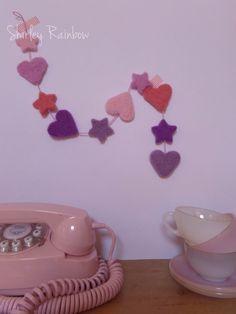 Needle felted hearts and stars garland, £8 @ Shirley Rainbow on Folksy.com Love the colours! #needlefelt #folksy