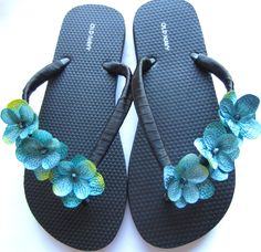 """The """"Heidi"""" Black Flip Flop Sandal with Blue flowers - great for beach - wedding - bridesmaid gift"""