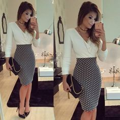 Buy Women OL Formal Business Work Stretch Dress 2016 Long Sleeve V-neck Plaid Patchwork Party Slim Bodycon Pencil Dress at Wish - Shopping Made Fun Business Casual Outfits, Business Dresses, Office Outfits, Classy Outfits, Office Attire, Business Casual Female, Business Casual With Jeans, Summer Business Attire, Office Wear