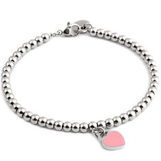 Girl Friends Gift 316L Stainless Steel Beads Link Chain Bracelet with love Charm Wedding Bracelet Length18cm -- You can get more details by clicking on the image.