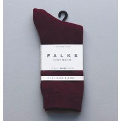 Falke Cosy Sock Burgundy: Luxurious wool/ cashmere blend socks. Exquisite material blend with fine wool and cosy cashmere. Perfect Falke fit. Reinforced stress zones guarantee your Falke product a long life.