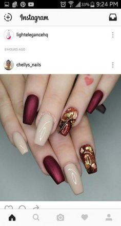 Nails fall coffin marble 18 Ideas - New Pin Stylish Nails, Trendy Nails, Cute Nails, Fall Acrylic Nails, Fall Nail Art, Hair And Nails, My Nails, How To Do Nails, Jolie Nail Art