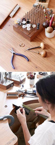 Krista McRae's Jewelry Studio | http://thedesignfiles.net/2014/01/interview-krista-mcrae/