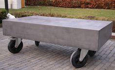 Salontafel beton ciré wielen industrieel