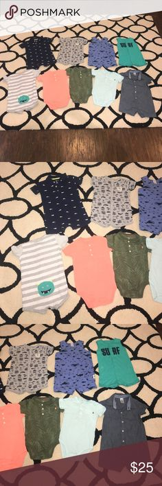 Carter's baby boy outfits lot Sz 18 months Carter's baby boy outfits lot Sz 18 months all in excellent condition with the exception of the light blue onesie  that has a light mark. Final price listed Carter's One Pieces