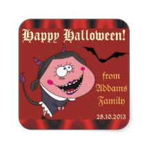 Funny Devil Girl and Flames Halloween Stickers