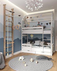 Bunk Bed Designs, Kids Bedroom Designs, Baby Room Design, Home Room Design, Cool Kids Bedrooms, Cool Rooms, Toddler Rooms, Baby Boy Rooms, Wallpaper Wall