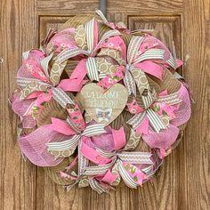 Pink Wreath, Burlap Wreath, Spring Wreaths, Summer Wreath, Corrugated Box, Patriotic Wreath, Welcome Wreath, Wired Ribbon, Deco Mesh Wreaths
