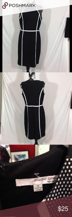 """Studio One Black Shift Dress with Mesh Accents Studio One Black Shift Dress with Mesh Accents, size 12. Measurements laying flat chest 18"""", waist 16.5"""", hips 20"""", length 37"""". Dry clean only. Body 95% polyester, 5% spandex, lining 100% polyester. Dry clean only. Studio One Dresses"""