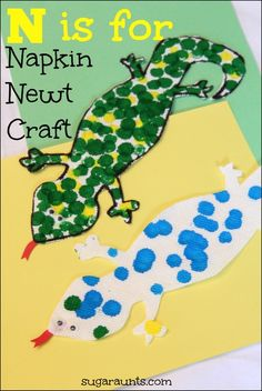 N is for Napkin and Newt. Craft for kids with paint dabbers.
