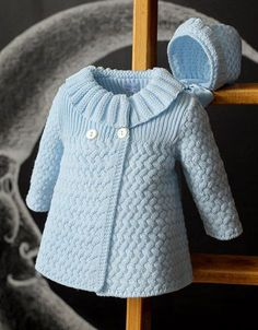 Beautiful Coat - Free Knitting PatternRiver Otter Knitting Pattern for Shirley Bear - Available again thanks to Deramore's! Crochet Dress Girl, Crochet Baby Cardigan, Crochet Jacket, Crochet Coat, Baby Knitting Patterns, Knitting Designs, Baby Patterns, Free Knitting, Knitting Sweaters