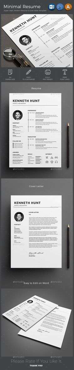 Resume Template, Cv template and Ai illustrator - resume formats free download word format