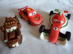 Handcrafted edible cake toppers from 'Cars 2' - Mater, Lightning McQueen and Francesco by Let's Eat Cake, via Flickr