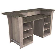 Meuble-comptoir de bar BLOW XXL chêne lasuré gris (vue de 3/4 arrière) 1399 € Diy Kitchen Cabinets, Corner Desk, Mini Bars, Furniture, Dresser, Home Decor, Business, Pallet Counter, Craft