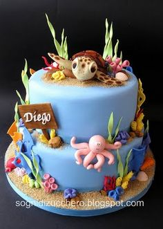 Ocean cake. After the carapace of the turtle was dry, color dust was used to paint it.