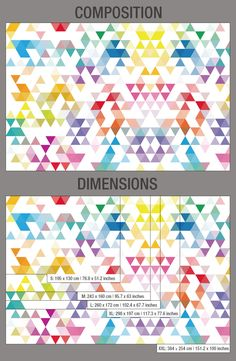 Wall Art Geometric Mid Century Triangles Composition